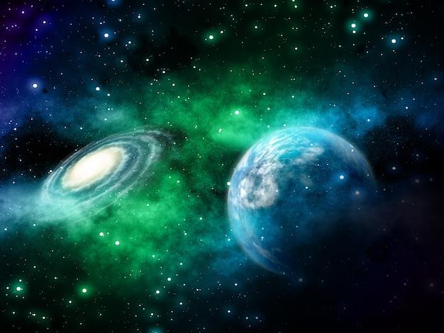 架空の惑星と星雲の3 d空間の背景 無料写真