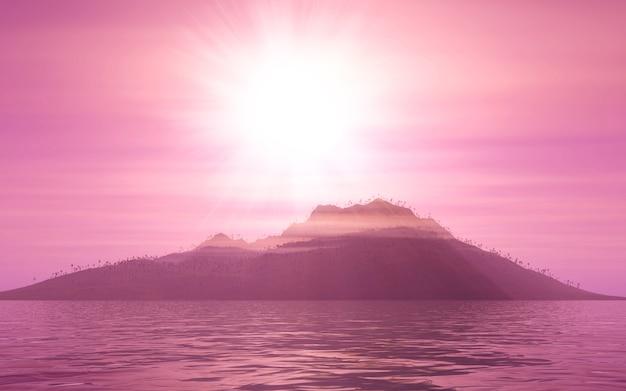 日没時の3 d山の風景 無料写真