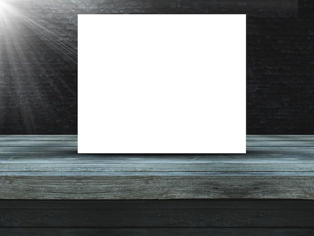 空白のキャンバスと古いグランジレンガの壁に対して3 dの木製テーブル 無料写真