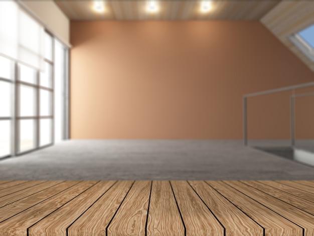 デフォーカスの空の部屋を見渡す3 dの木製テーブル 無料写真