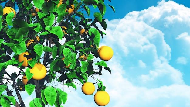 青い空を背景に3 dの果樹 無料写真