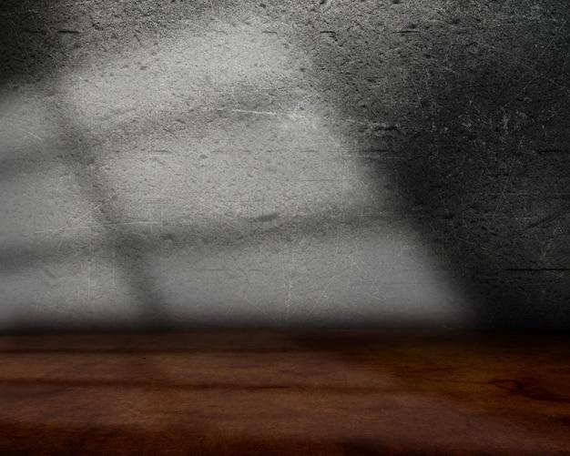 グランジの壁と床と光線の背景を持つ3 dルームインテリア 無料写真
