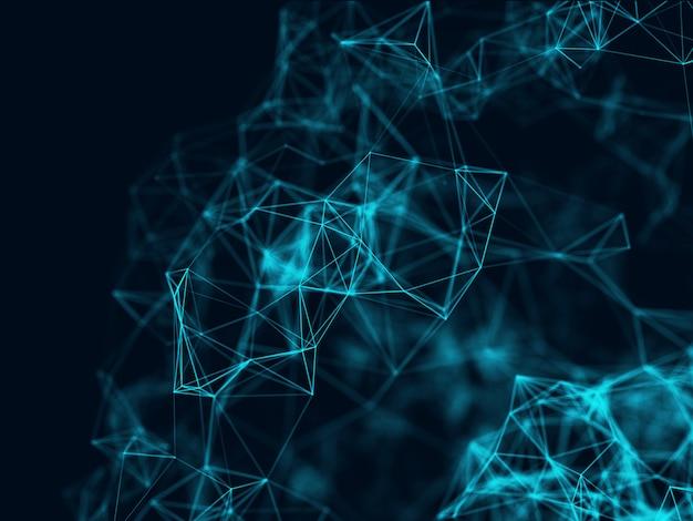 ネットワーク接続、低ポリゴン、神経叢デザインの3 dの抽象的な背景 無料写真