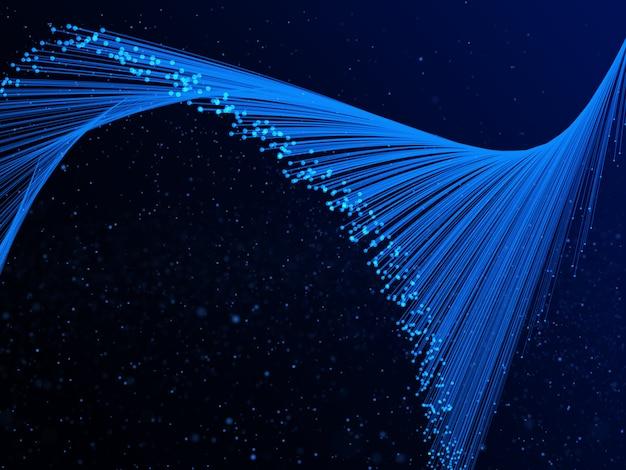 光線とサイバードットの3 dの抽象的な流れの背景 無料写真