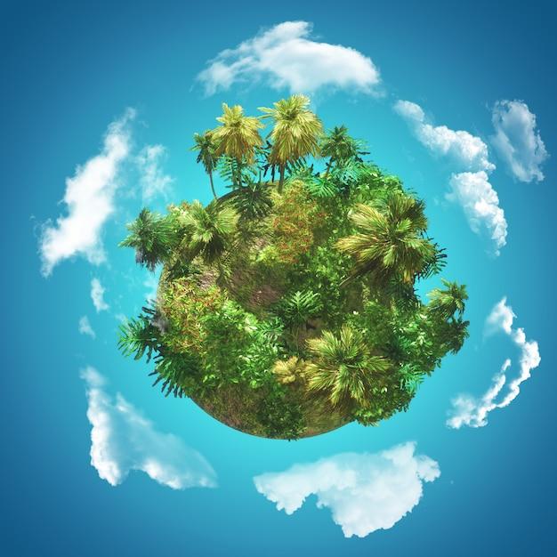旋回する雲と青い空にヤシの木の手袋と3 d熱帯背景 無料写真