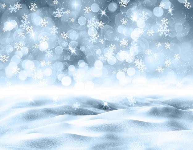 雪の3 d雪の風景 無料写真