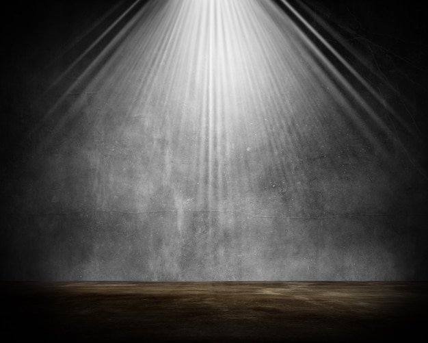 輝くスポットライトと3 dグランジルームインテリア 無料写真