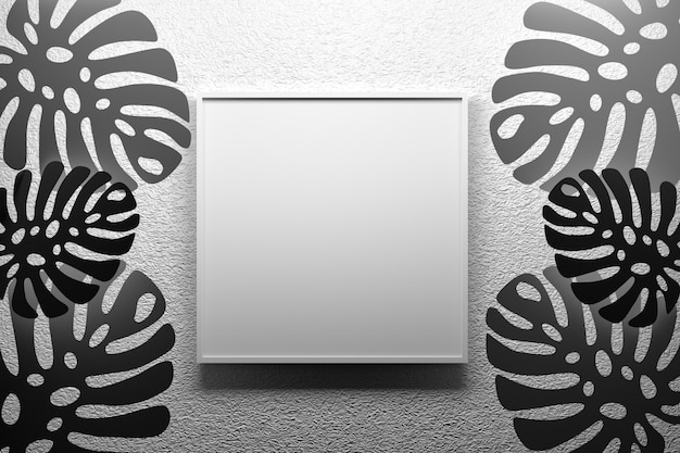黒と白の色でモンステラ熱帯の織り目加工の壁に掛かっている空の空白スペースを持つ正方形のフレーム。 3 dイラスト Premium写真