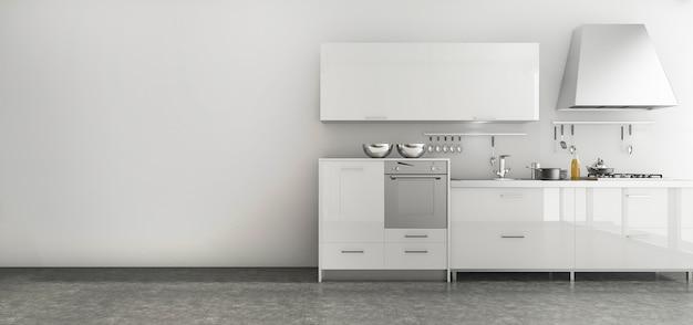 3 dレンダリング素敵なキッチン、シンプルなスタイルの部屋で設定 Premium写真