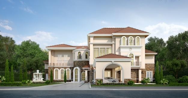 3 dレンダリングのモダンな古典的な家と高級庭園 Premium写真