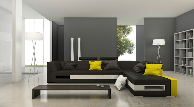 明るいリビングルームで3 dレンダリングモダンな黄色と黒の布のソファ Premium写真