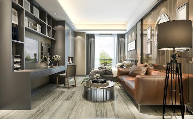 モダンな建物の3 dレンダリングの豪華なデザインのリビングルームとベッドルーム Premium写真