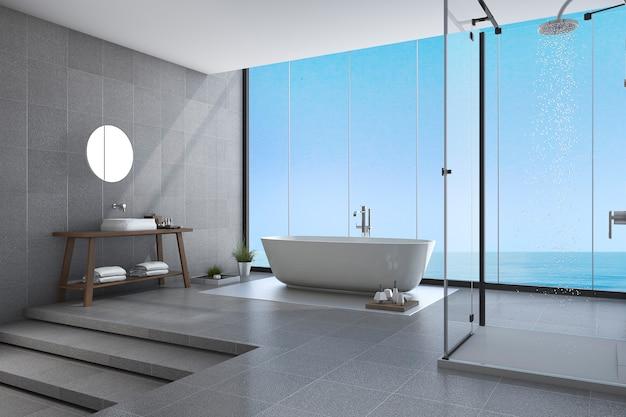 3 dレンダリング美しい手順海の景色の近くのモダンなバスルーム Premium写真
