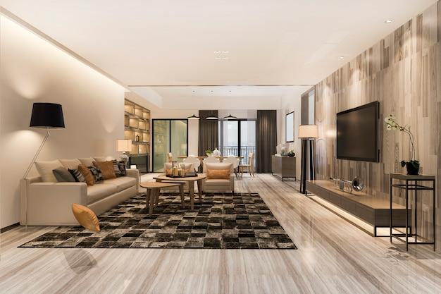豪華な装飾が施された3 dレンダリングのモダンなダイニングルームとリビングルーム Premium写真