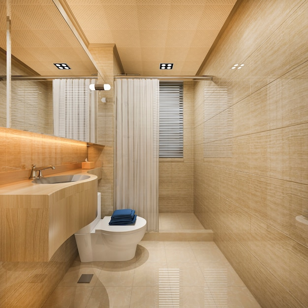 窓の近くの3 dレンダリング木とタイルのデザインのバスルーム Premium写真