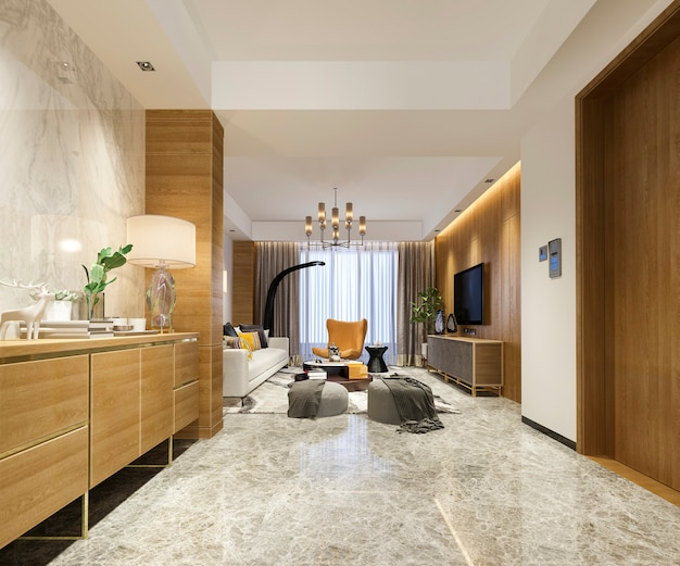 ソファとダイニングテーブル付きの3 dレンダリングの豪華でモダンなリビングルーム Premium写真