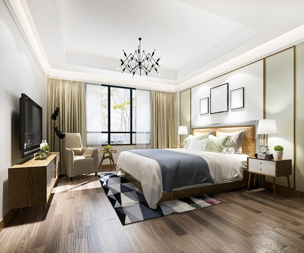 ホテルの3 dレンダリングの美しい豪華なベッドルームスイートテレビ Premium写真