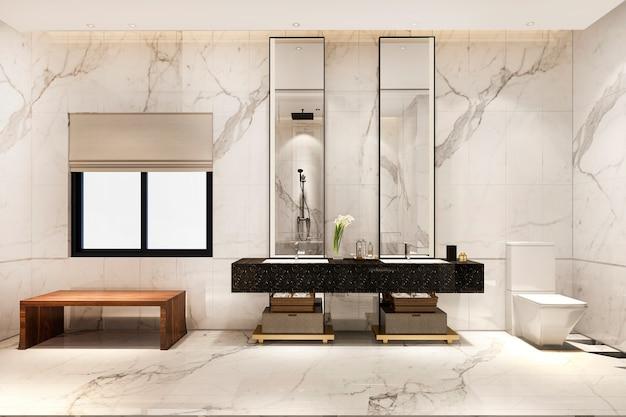 3 dレンダリングの豪華なモダンなデザインのバスルームとトイレ Premium写真