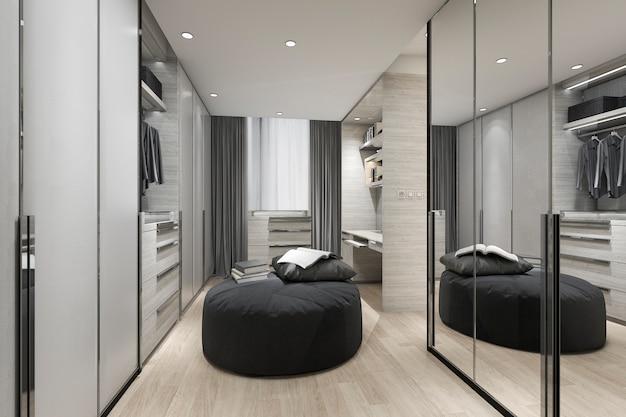 スカンジナビアの3 dレンダリング黒クッションワードローブと服に鏡でクローゼットの中を歩く Premium写真