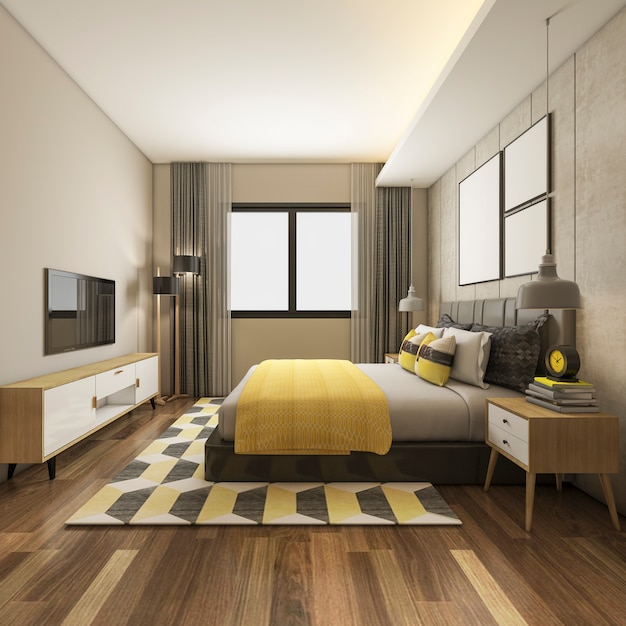 3 dレンダリングテレビ付きのホテルで美しい豪華な黄色の寝室スイート Premium写真