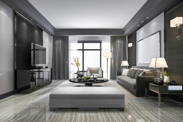 3 dレンダリングモダンなリビングルームと棚付き Premium写真