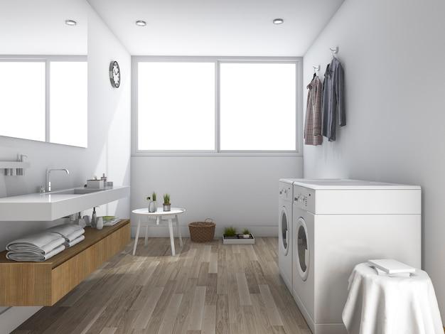ミニマルなデザインの3 dレンダリングホワイトランドリールーム Premium写真