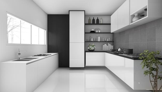 3 dレンダリングホワイトロフトモダンなキッチンスタイル Premium写真