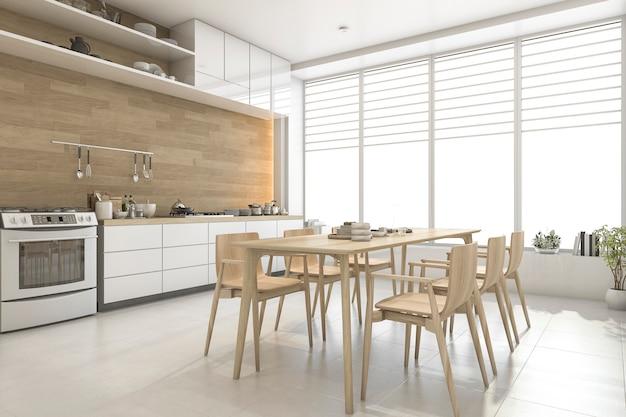 3 dレンダリングホワイトスカンジナビアスタイルの木製キッチンとダイニングルーム Premium写真