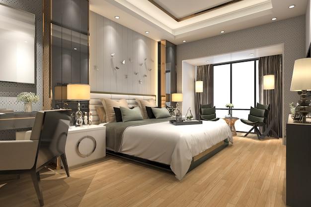 ホテルの3 dレンダリングの豪華なモダンなベッドルームスイート Premium写真