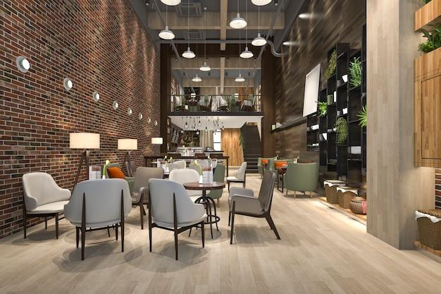 3 dレンダリングロフトと高級ホテルのレセプションとカフェラウンジレストラン Premium写真