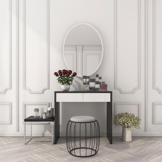 メイクアップテーブルと3 dレンダリングクラシックホワイトルーム Premium写真