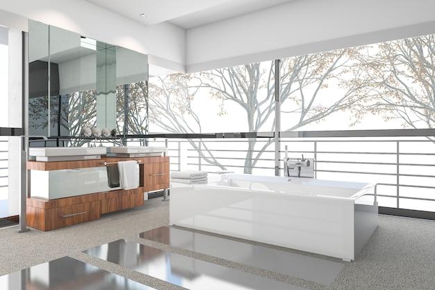 スカンジナビアの装飾と窓からの素敵な自然の景色を3 dレンダリングモダンな最小限のバスルーム Premium写真
