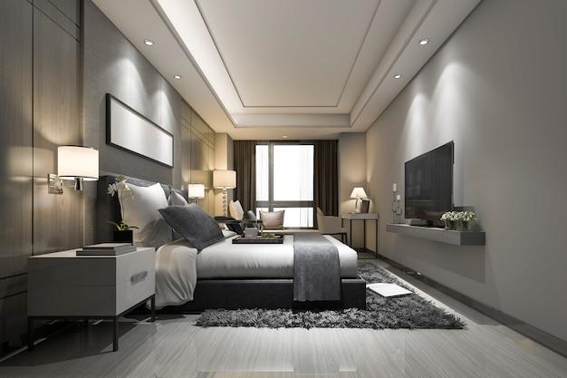 3 dレンダリングモダンで豪華なベッドルームスイートとバスルーム Premium写真