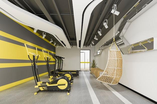 3 dレンダリングモダンな黄色のジムとフィットネス Premium写真