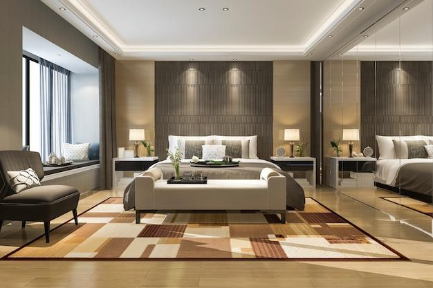 ミラーのワードローブとホテルの3 dレンダリングの美しい豪華なベッドルームスイート Premium写真