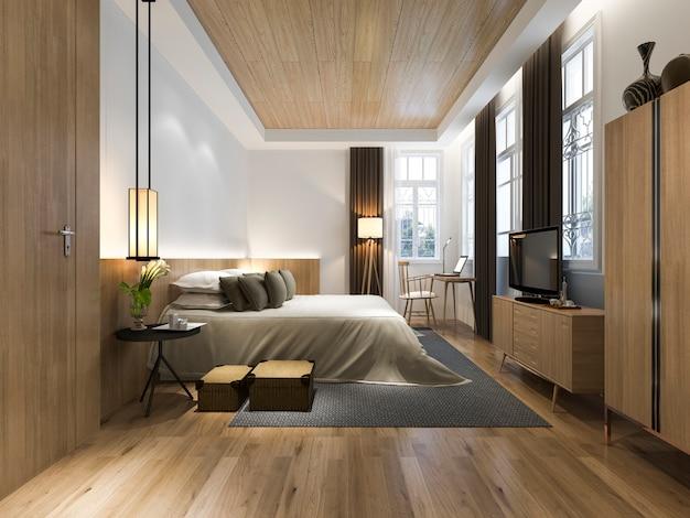 窓からの眺めと3 dレンダリング木製ミニマルスタイルのベッドルーム Premium写真