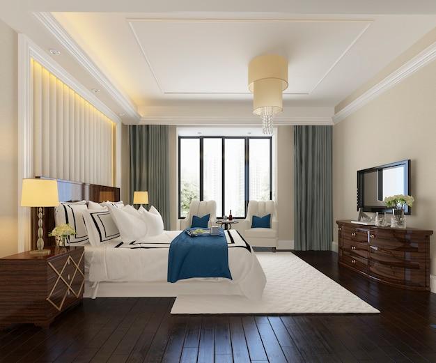 テレビ付きのホテルの美しい豪華なベッドルームスイートの3 dレンダリング Premium写真