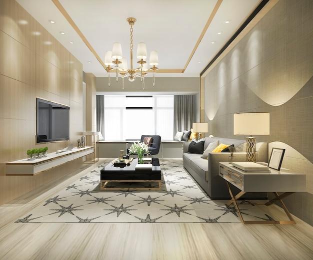 豪華なモダンなリビングルームの3 dレンダリング Premium写真