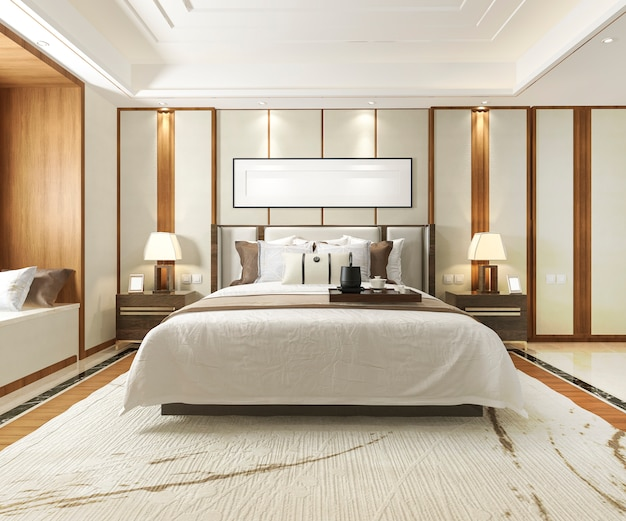 ホテルの豪華なモダンなベッドルームスイートの3 dレンダリング Premium写真