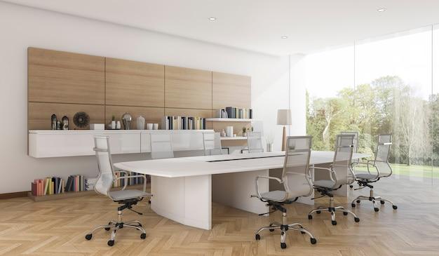 現代的な木製スタイルの3 dレンダリングビジネス会議室 Premium写真