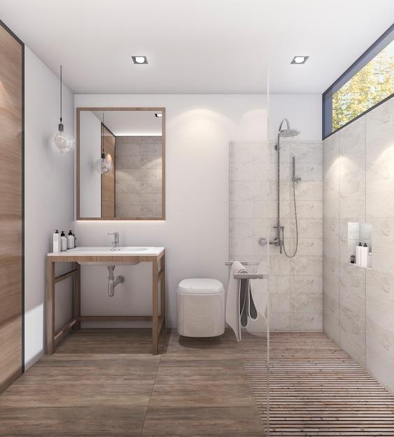 良い装飾が施された3 dレンダリングの素敵なトーンのバスルーム Premium写真
