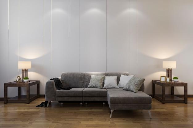 ソファ中国風のリビングルームでの3 dレンダリングの木製装飾 Premium写真