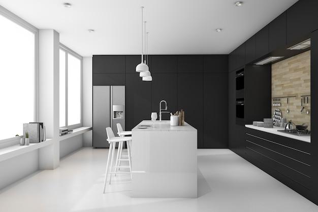 3 dレンダリング最小限の黒と白のモダンなキッチン Premium写真