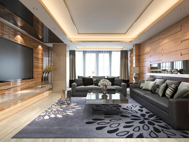 革張りのソファと3 dレンダリングの豪華でモダンなリビングルーム Premium写真