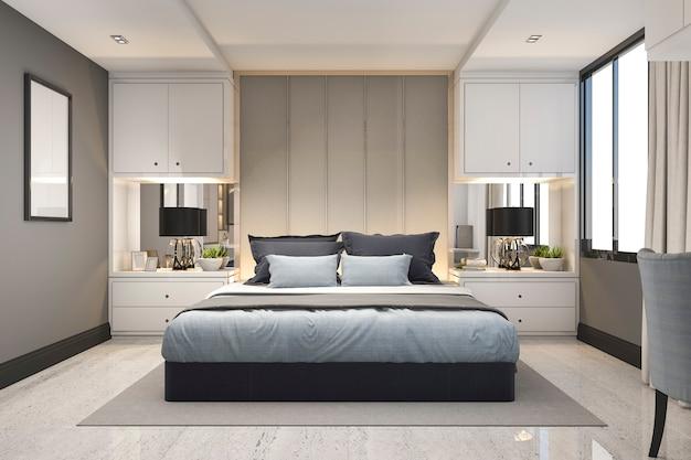 大理石の装飾が施された3 dレンダリングモダンで豪華な青い寝室 Premium写真