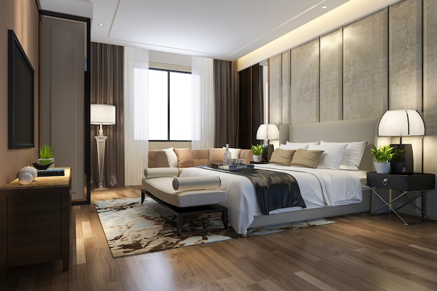 テレビと作業テーブルとホテルの3 dレンダリング美しい豪華なベッドルームスイート Premium写真