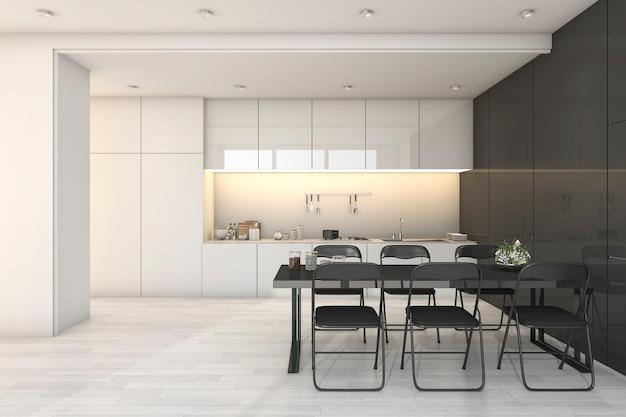 3 dレンダリング白いモダンなキッチンとダイニングゾーン付きのリビングルーム Premium写真
