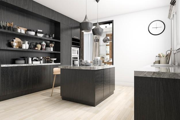 白と黒のデザインの3 dレンダリングスカンジナビアキッチン Premium写真