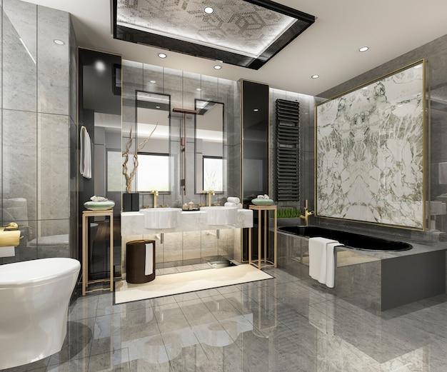 豪華なタイルの装飾が施された3 dレンダリングのモダンなバスルーム Premium写真