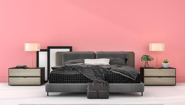 3 dレンダリングヴィンテージピンクミニマルスタイルの寝室のモックアップ Premium写真